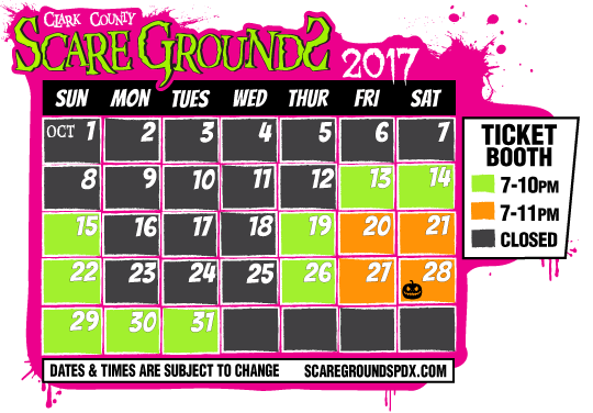 Clark County ScareGrounds 2017 Calendar